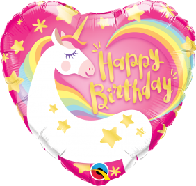 "18"" HRT BDAY MAGICAL UNICORN (PK)"