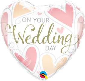 """18"""" HRT ON YOUR WEDDING DAY HEARTS(PK)"""