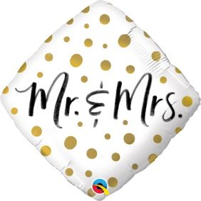 "18"" DMD MR & MRS GOLD DOTS (PK)"