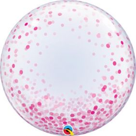 "24"" DECO BUBBLE PINK CONFETTI DOTS (PK)"