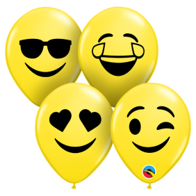 "05"" RND SMILEY FACES YELLOW AST 100CT"
