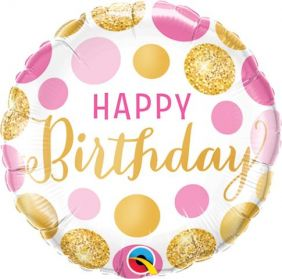 "09"" RND BIRTHDAY PINK & GOLD DOTS FOIL"