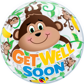 "22"" GET WELL MONKEYS (PK) SINGLE BUBBLE"