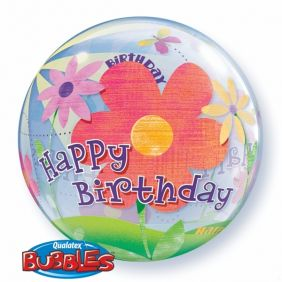 "22"" BDAY FUNKY FLOWERS (PK) S.BUBBLE"