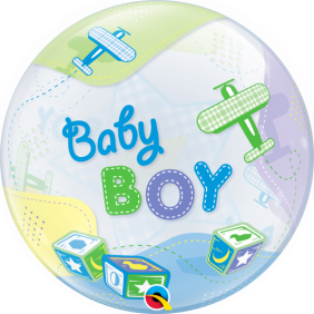 "22"" BABY BOY AIRPLANES (PK) S BUBBLE"