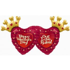 """36"""" VALENTINE'S OUR LOVE RULES! FOIL"""