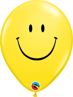 "11"" RND SMILE FACE YELLOW(BLK) 50CT"
