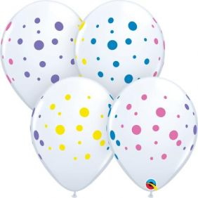 "11"" RND COLOURFUL DOTS WHITE 50CT"