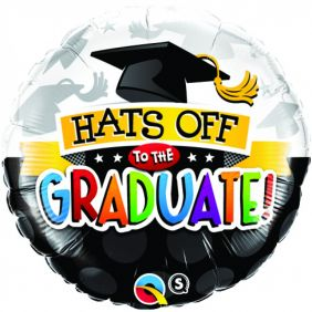 "18"" RND HATS OFF TO THE GRADUATE!(PK)"