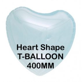 "T-BALLOON CLEAR HEART 18"" (400MM) 10CT"