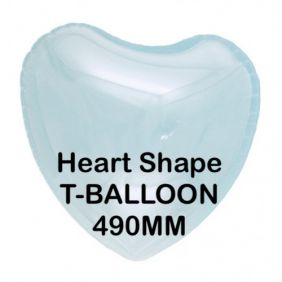 "T-BALLOON CLEAR HEART 22"" (490MM) 10CT"